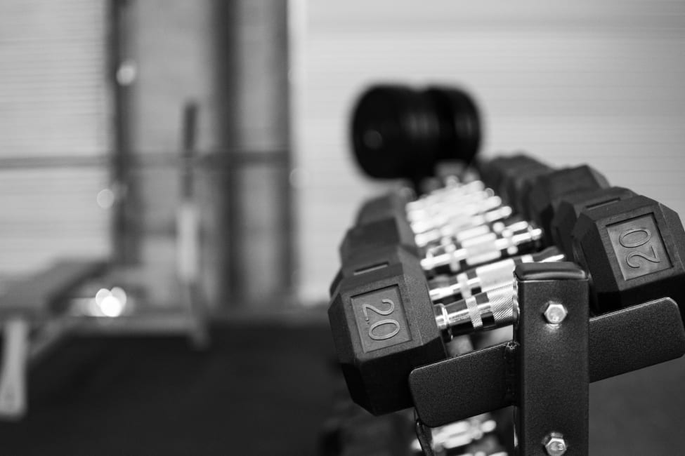 Dumbbells in gym rack with weight bench in background