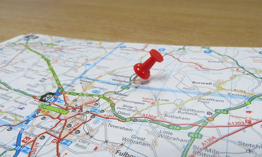 Road Map Showing Waterbeach and Cambridge